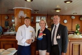 von links: Maik Albrecht (Chef de Cuisine, SEA CLOUD CRUISES), Ulrike Laschke (Vice President Hotel Operations, SEA CLOUD CRUISES), Ernst Derenthal (Area Manager Product Design and Caterer Management, Lufthansa)