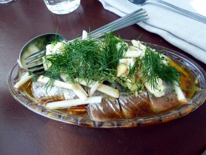 Smoked herring from Norröna with browned butter, herbs & warm potato salad with chopped egg