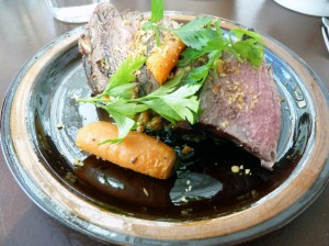 Grilled lamb with roasted carrot chutney & garlic